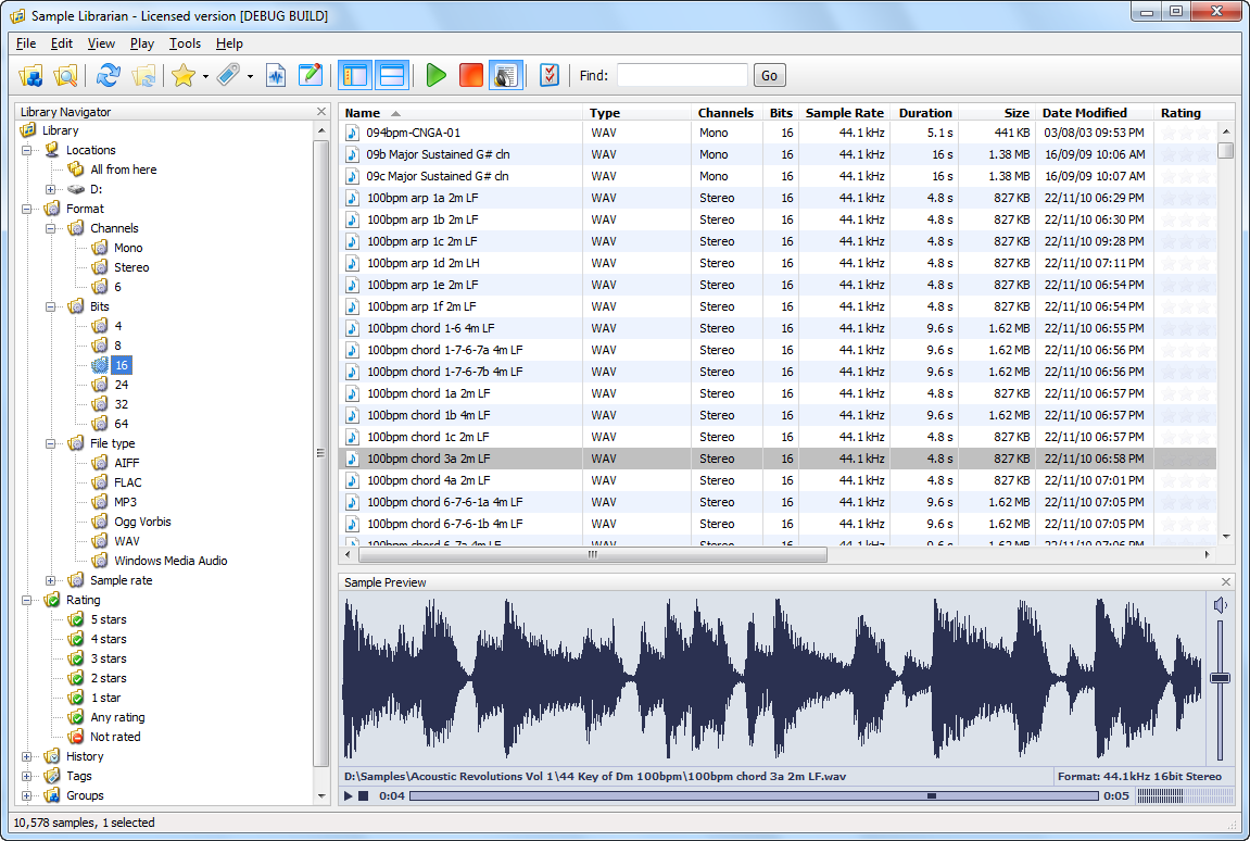 RYAudio Sample Librarian - Manage your audio samples and
